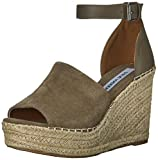Steve Madden Women's Marina Wedge Sandal, Taupe Suede, 7 Medium US