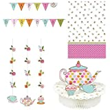 Girls Tea Party Birthday Party Banner Centerpiece Table Cover and Hanging Decorations