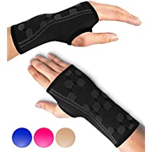 Wrist Support Sleeve by SPARTHOS (Pair) – Compression Wrist Brace for Men and Women - Carpal Tunnel Tendonitis Arthritis Pain Relief for Sports Injuries Arthritic Wrists Palm Hand Pain RSI (Black-M)