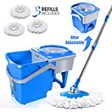Masthome 7L Spin Mop and Telescopic Bucket with 3 Microfiber Heads Hand-Free Self-Wringing Floor Cleaning Mop for Home Kitchen