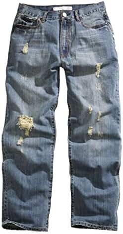 Tin Haul Men's Hoss Heavy Destruction Loose Fit Straight Leg Jeans