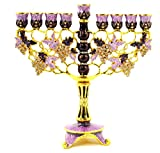 Ciel Collectables Floral Menorah, Hand Set Swarovski Crystal, Hand Painted Purple Color Enamel Over Solid Pewter Base, It Holds 9 Small Candles, L 7.00 x H 7.25