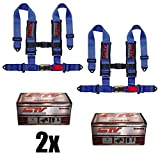 "STVMotorsports 4 Point Harness Set - 3"" Pads - Universal H-Type - Bolt In - Latch and Link Quick Release - for Off-Road, UTV, Trucks, Side by Side (PAIR) (Blue)"