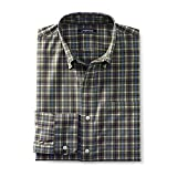Lands' End Men's Traditional Fit No Iron Twill Shirt, L, Smokey Olive Tattersall