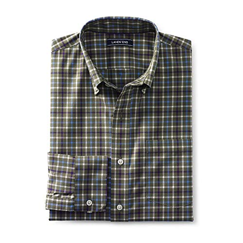 Lands' End Men's Traditional Fit No Iron Twill Shirt, L, Smokey Olive Tattersall -
