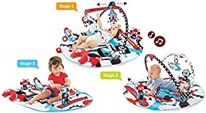 Baby Gym And Play Mat - 3 Stage Accessory Gym With Motorized Robot Track - 20 Development Activities - Age 0-12 Months