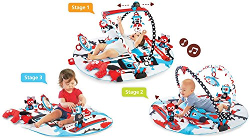 Yookidoo Baby Gym And Play Mat - 3 Stage Accessory Gym With Motorized Robot Track - 20 Development Activities - Age 0-12 Months 40128