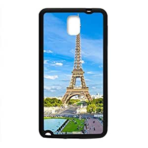 Personalized Clear Phone Case For Samsung Galaxy Note 3,glam blue sky with eiffel tower