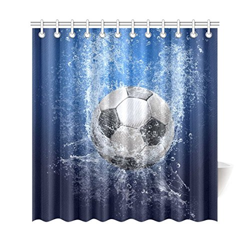 INTERESTPRINT Water Drops Soccer Ball Home Decor, World Cup Polyester Fabric Shower Curtain Bathroom Sets with Hooks 69 X 72 Inches