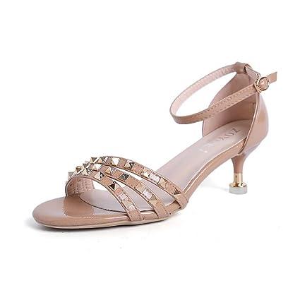 CJC Sandalias de Tacón Alto Zapatos Abiertos de Tacón Alto Tacones Finos  Finos Sandalias Elegantes de 0bd2aec07e04
