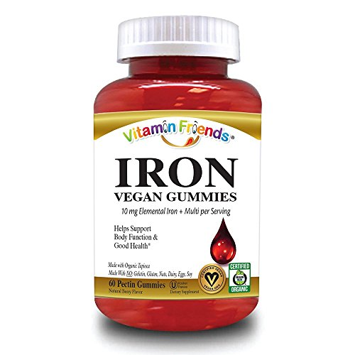 Iron Supplement by Vitamin Friends - Chewable Iron Gummies are Easier to Ingest Than Iron Pills and Better Flavor Than Liquid Iron Supplements - Ferrous Fumarate Iron 100% of Daily Value with Biotin