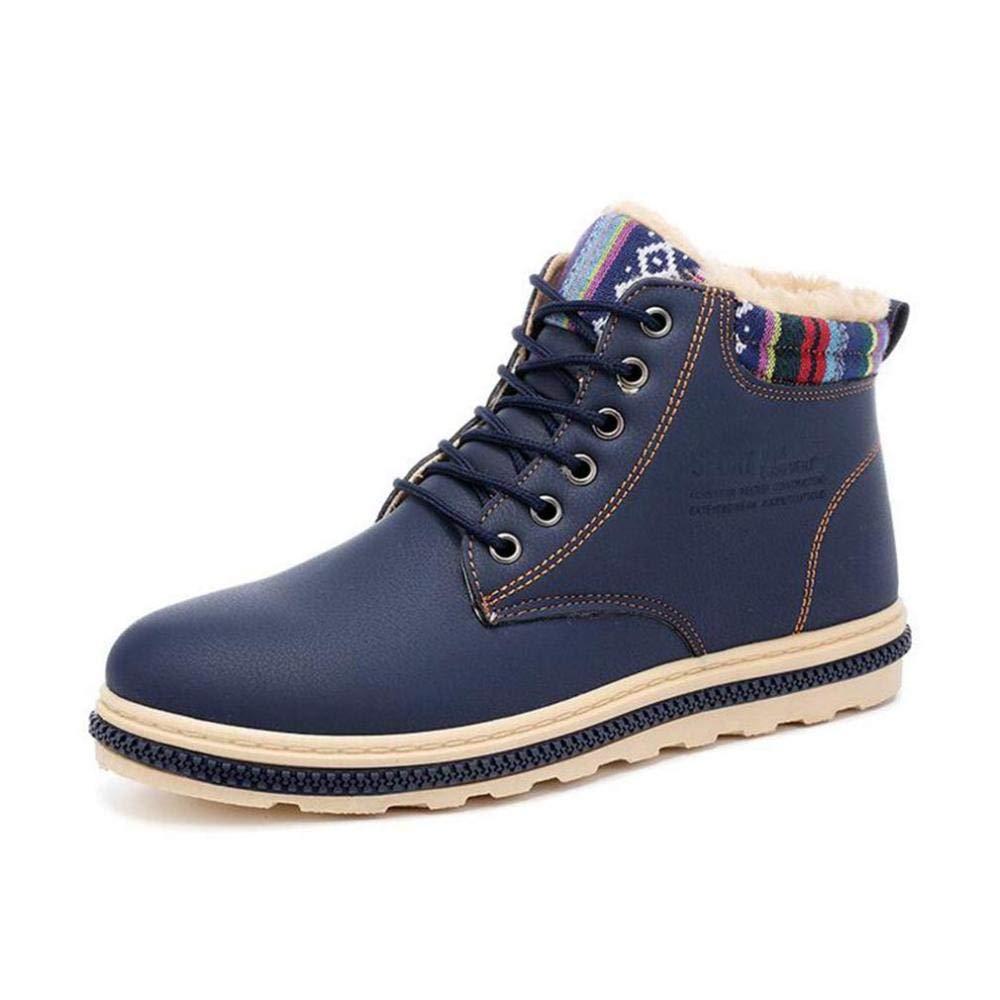 bluee H&H Men's shoes, Microfiber Winter Plus Velvet Warm Cotton shoes, Lace up Formal Business shoes, Men Comfort Slip-Ons Driving shoes Casual shoes (color   Black, Size   43)