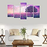 Custom Made Purple sky flower tree art bokeh Canvas Prints Bedroom or Living Room Features Decorative Murals 5 Oil Paintings on Canvas (No Frames)