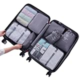 FenDie Storage Packing Cubes 8 Set Travel Bag Organizer Waterproof Foldable Luggage Compression Pouches - Gray