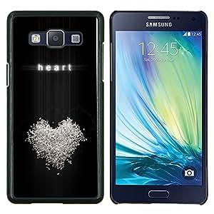 EJOOY---Cubierta de la caja de protección para la piel dura ** Samsung Galaxy A5 A5000 ** --Corazón del amor Relatiosnhip Bling Símbolo Blanca