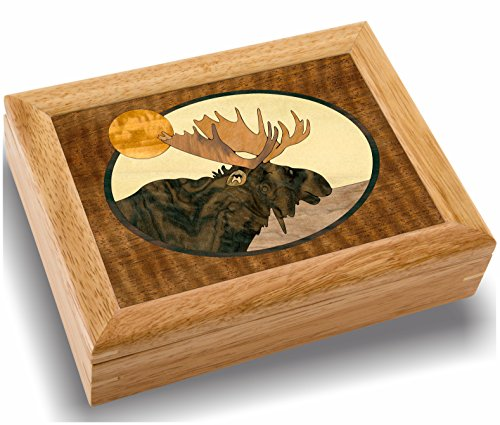 Wood Art Moose Box - Handmade USA - Unmatched Quality - Unique, No Two are the Same - Original Work of Wood Art. A Moose Head Gift, Ring, Trinket or Wood Jewelry Box (#2122 Moose Head 6x8x2)