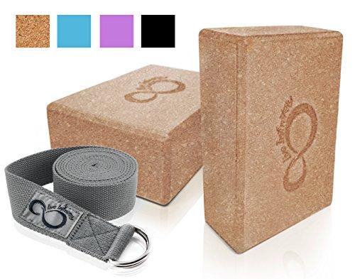 Premium Yoga Blocks & Metal D Ring Strap Yogi Set (3PC) 2 Pack High Density EVA Foam Blocks to Support & Deepen Poses, Improve Strength, Flexibility & Balance - Lightweight, (Cork & Dark Grey Strap)
