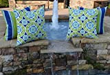 Set of 4 - Indoor / Outdoor 20'' Square Decorative Throw / Toss Pillows - Green, Blue, Yellow, White Bohemian Floral Sundial & Coordinating Stripe