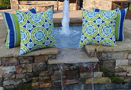 Set of 4 - Indoor / Outdoor 20'' Square Decorative Throw / Toss Pillows - Green, Blue, Yellow, White Bohemian Floral Sundial & Coordinating Stripe by Resort Spa Home Decor