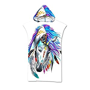 Sticker Superb. Adult Beach Towel Poncho 75 * 110 cm Animal Pattern Hooded Poncho Men and Women Soft and Comfortable…