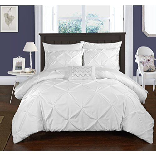Chic Home 3 Piece Daya Pinch Pleated, Ruffled & Pleated Complete Duvet Cover Set Shams & Decorative Pillows Included, Twin, White