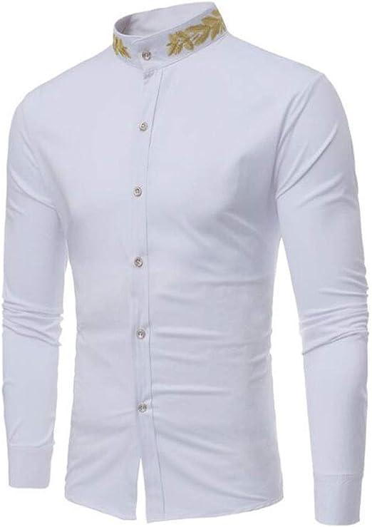 ZJEXJJ Camisa Casual de los Hombres Camisa Bordada Personalizada Camisa Delgada del Cuello del Soporte de los Hombres (Color : Blanco, Tamaño : M): Amazon.es: Jardín
