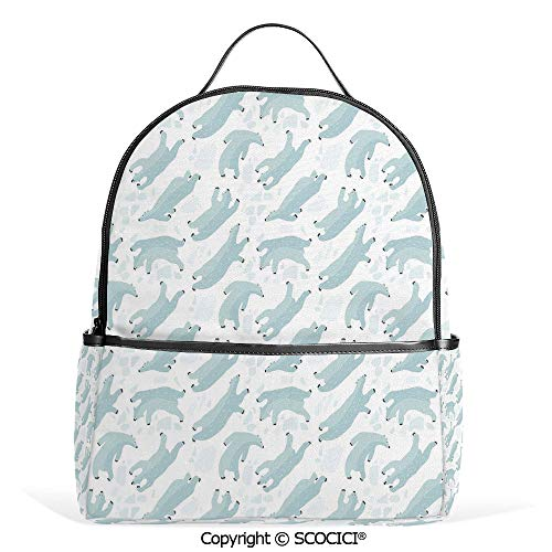 Hot Sale Backpack outdoor travel Swimming Polar Bears North Pole Arctic Mammals Winter Frozen Sea Hand Drawn Decorative,Almond Green White,With Water Bottle Pockets ()