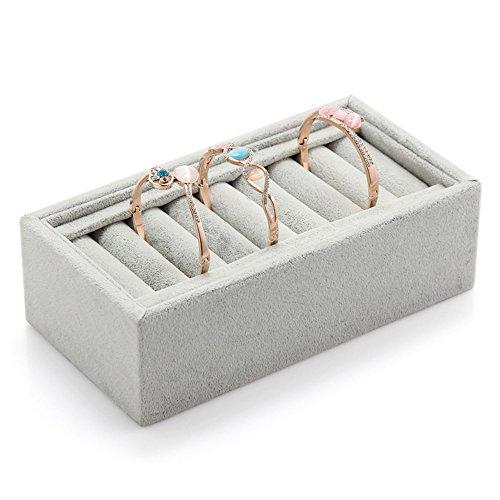 KUKI SHOP Soft Velvet Women's Bracelets Bangle Rings Holder Tray Display Storage Jewelry Box with 8 Slot Insert, Grey by KUKI SHOP