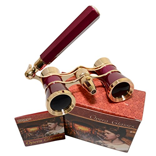 HQRP Opera Glasses s w/Crystal Clear Optic (CCO) 3 x 25 with Built-in Foldable Handle and Red Reading Light (Burgundy with Gold)