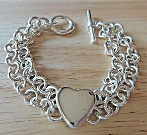 6.75'' Heavy 7mm Double Strand Rolo 28g with Heart Sterling Silver Charm Bracelet