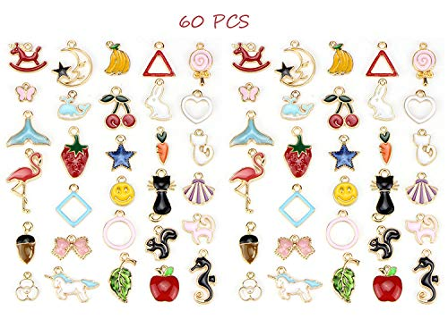 60 PCS Assorted Charms Pendants, Mix Style Enamel Cute Animals Cat Unicorn Fruit Decoration Charm Pendants DIY for Necklace Bracelet Earring Jewelry Making Crafting Accessories, Colorful