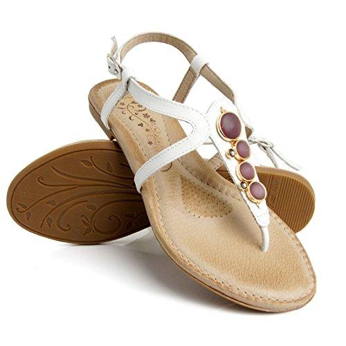Batz Fresh 42 Damen Hochwertigem Sommer Sandaletten, Sandalen, Lederschuhe, Schuhe Weiß