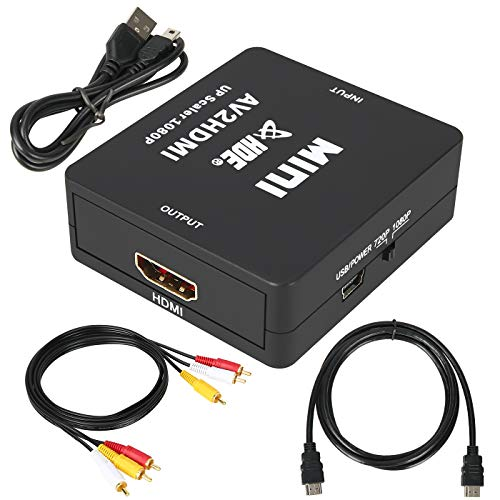 HDE RCA to HDMI Adapter Kit Composite AV to HDMI Converter 3RCA to 1080p / 720p HDMI Mini Analog to Digital Video and Audio Connector w/Included HDMI Cable USB Power and RCA Video Cable