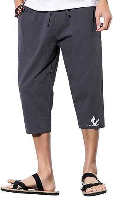 Zhhlinyuan Harem Pantalón Hombre Transpirable Algodón Lino Casual Pants Fashion Harem Aladdin Yoga Pantalones para Plus Size: Amazon.es: Ropa y accesorios