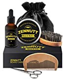 Beard Kit for Men Gifts Set Beard Grooming & Trimming Kit for Men Care w/Unscented Beard Conditioning Oil, Mustache Wax Balm Butter + Brush + Comb + Mustache Scissors for Beard Trimmer Styling Growth