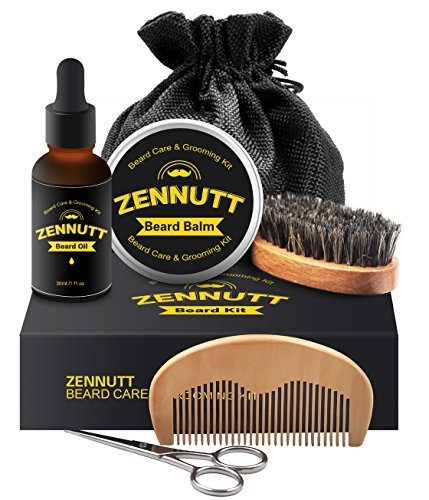 Beard Kit for Men Gifts Set Beard Grooming & Trimming Kit for Men Care w/Unscented Beard Conditioning Oil, Mustache Wax Balm Butter, Beard Brush & Comb, Mustache Scissors for Styling Growth