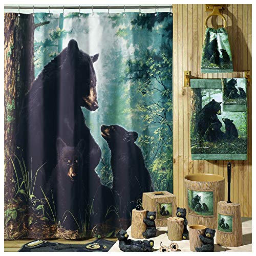 DS BATH Black Bear Shower Curtain,Polyester Microfiber Waterproof Shower Curtains,Printing Shower Curtains for Bathroom,Fabric Bathroom Curtains,72 inches W x 72 inches H
