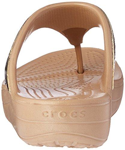 Gold Embellished crocs Sandalen Damen Flipflops Sloane Metallic fwEEqXR0x
