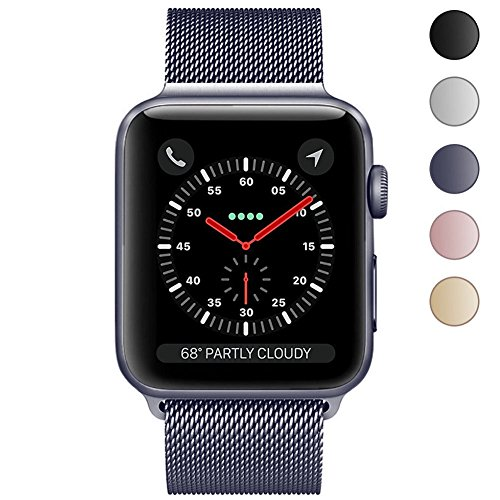 Apple Watch Band 42mm, KYISGOS Strong Magnetic Milanese Loop Stainless Steel Replacement iWatch Strap for Apple Watch Series 3 2 1 Nike+ Sport and Edition, Space Gray