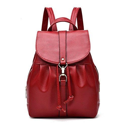 Meaeo Schulter Damen Tasche Neue Trend Fashion Paket Kurze College Wind Tasche Großer Kapazität Freizeit Rucksack, Schwarz gules
