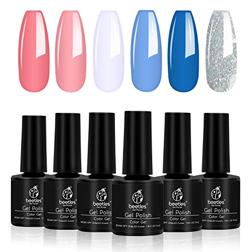 Beetles Gel Nail Polish Sets Glitter Blue White Pink Peach Gel Polish Kit Soak Off UV LED Required Nail Gel for Summer (Best Glitter Gel Nail Polish)