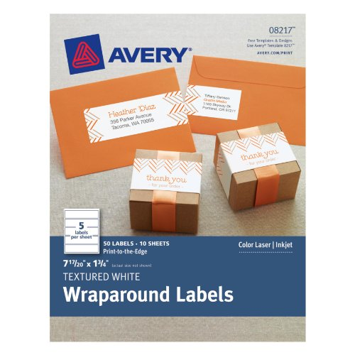 Avery Textured Wraparound Labels, White, 7.85 x 1.75 Inches, Pack of 50 (8217)