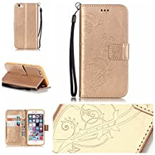 iPhone 4/4S Case Cover [with Free Screen Protector], Funyye Elegant Premium Folio PU Leather Wallet Magnetic Flip Cover with [Wrist Strap] and [Credit Card Holder Slots] Stand Function Book Type Stylish Butterfly Leaf Vines Designs Full Protection Holster Case Cover Skin Shell for Apple iPhone 4/4S - Gold