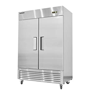 kalifon Reach-in Freezer Commercial Solid Two Section Stainless Steel Freezers with LED Lighting Self-Closing Door Freezer 49 cu.ft for Restaurant Kitchen, -8℉~0℉, with Lift Gate