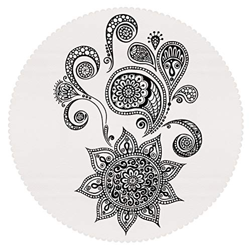 iPrint American Round Tablecloth [ Henna,Flowers and Paisley