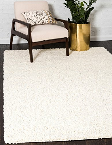 Unique Loom Solo Solid Shag Collection Modern Plush Pure Ivory Rectangle (3' x 5') - Ivory Cotton Rug