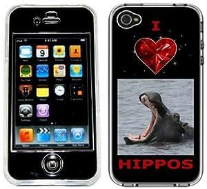 I Love Hippos Hippopotamus iPhone 4 4S Full Hard Plastic Case