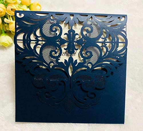 DriewWedding 20 pcs Wedding Invitations, Blue Square Laser Cut Invitation Cards, Hollow Clamshell Design with Envelope & Ribbon Bow for Bridal Baby Shower,Engagement,Birthday Party -