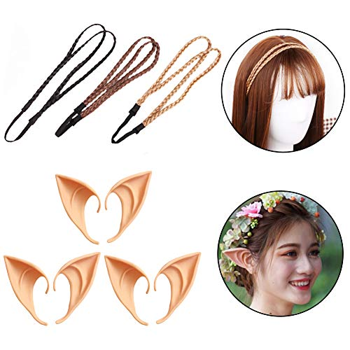 WENTS 3 Pairs Fantasy Latex Elf Pixie Fairy Elven Hobbit Ears with 3pcs Hair Braid for Anime Halloween Christmas Cosplay Party Masquerade Decorations]()
