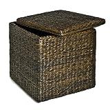 Seville Classics PAT70160 Rush Cube Storage Ottoman, Mocha